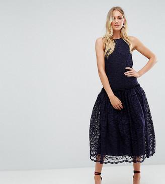 Asos Tall TALL Lace Smock Drop Waist Midi Dress-Navy