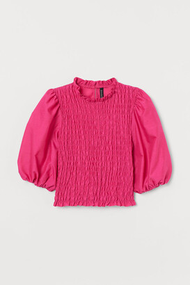 H&M Puff-sleeved Smocked Blouse - Pink