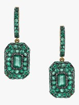 Shay Jewelry Pave Emerald Drop Huggie Earrings