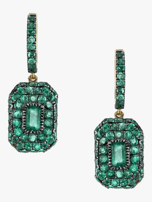 Shay Jewelry Pave Emerald Drop Huggie Earrings