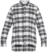 Off-White Distressed checked cotton shirt