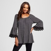 LORAMENDI Women's 3/4 Bell Sleeve Printed Peasant Top with Lace Trim