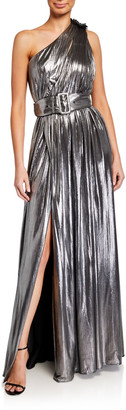retrofete Andrea One-Shoulder Belted Lame Maxi Dress