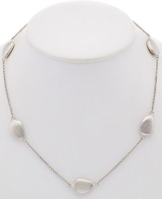 Rivka Friedman White Rhodium Clad Pebble Station Necklace