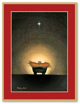 Caspari Star And Creche Christmas Cards, Box of 16