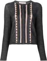 Carolina Herrera 'Leather Trim Knit' cardigan