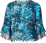 Matthew Williamson Tiger Palm Blue Silk Top