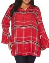 Rafaella Plaid Bell Sleeve Button-Down Shirt