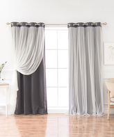 Best Home Fashion Dark Gray Tulle Overlay Blackout Curtain Panel Set