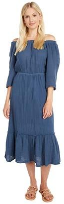 Michael Stars Anya Convertible Double Gauze Tiered Dress (Lake) Women's Clothing