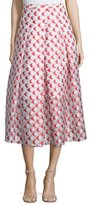 Sachin + Babi Pleated Polka-Dot Midi Skirt, Tomato