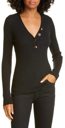 Autumn Cashmere Ribbed Cashmere Henley Sweater