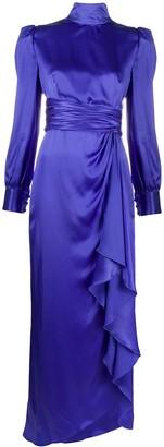 Alessandra Rich Side Draped Long Sleeve Dress