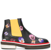 Christopher Kane pansy print ankle boots