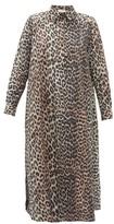 Ganni Leopard-print Cotton-poplin Shirtdress - Womens - Leopard