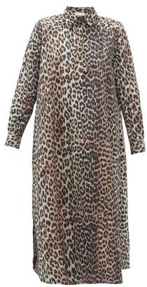 Ganni Leopard-print Cotton-poplin Shirt Dress - Leopard