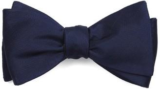 Tie Bar Herringbone Vow Navy Bow Tie