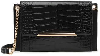 Urban Expressions Vegan Leather Croc Embossed Crossbody Bag