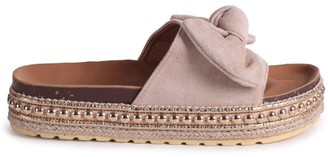 Linzi RARE - Beige Suede Slip On Slider With Bow Detail and Beaded Trim