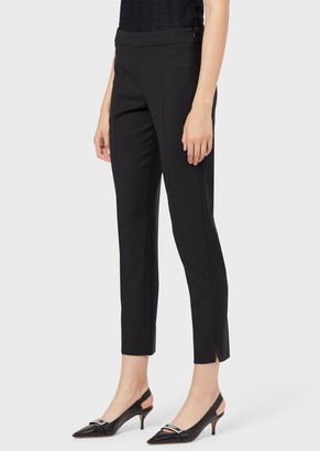 Emporio Armani Slim-Fit, Virgin Wool Cropped Trousers