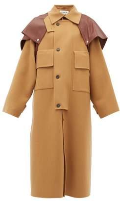 Lanvin Leather-cape Oversized Wool-blend Coat - Womens - Camel