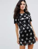 Glamorous Star Print Sequin Shift Dress
