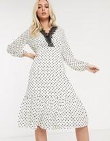 TFNC polka print contrast lace trim midi dress