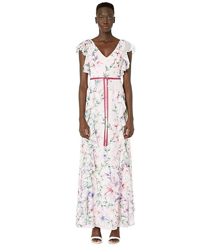 Marchesa Short Sleeve V-Neck Printed Chiffon Gown