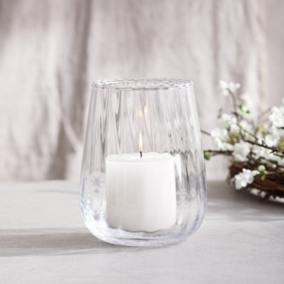 The White Company Optic Candle Holder, Clear, One Size