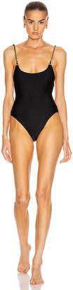 Jonathan Simkhai Chain Print Swimsuit in Black | FWRD