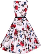 ACHICGIRL Retro Floral Print Sleeveless Design A-line Dress, L