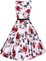 Azbro Retro Floral Print Sleeveless Design A-line Dress, Red XS