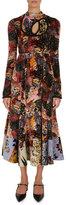 Erdem Zuzanna Patchwork Floral Velvet Midi Dress
