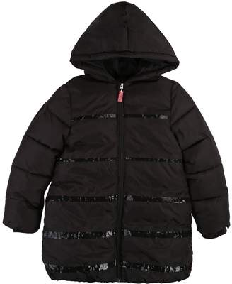 Billieblush Girls Glitter Padded Hooded Coat - Dark Grey
