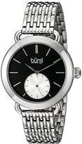 Burgi Women's BUR153SSB Silver Multifunction Quartz Watch With Black Dial and Silver Bracelet