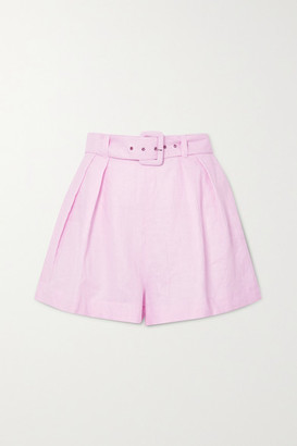 Faithfull The Brand Net Sustain Priscilla Belted Linen Shorts - Pastel pink