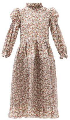 Horror Vacui Claire Balloon-sleeve Floral-print Cotton Dress - Multi