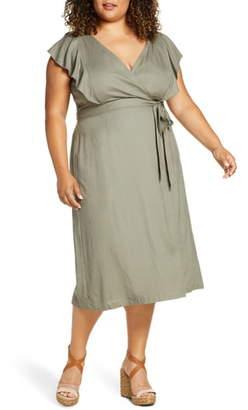 ELOQUII Flutter Sleeve Wrap Dress