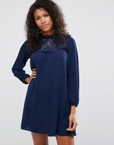 Brave Soul Smock Dress With Lace Front