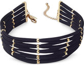 INC International Concepts Gold-Tone Faux-Suede Beaded Choker Necklace, Created for Macy's