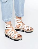 Sixty Seven SixtySeven Echos White Ghillie Espadrille Flatform Sandals