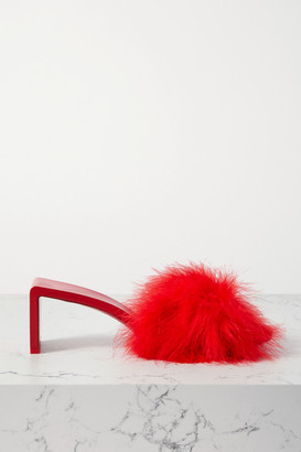 Balenciaga Mono Feather-embellished Leather Mules - Red