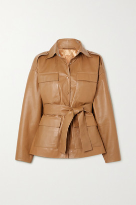 REMAIN Birger Christensen Eilera Belted Leather Jacket - Camel