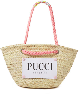 Emilio Pucci Logo-print Canvas And Straw Tote