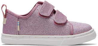 Toms Ballet Pink Glitter Tiny Lenny Double Strap Sneakers
