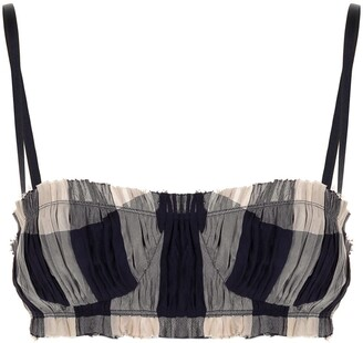 KHAITE Indira checked cropped top