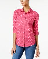 Karen Scott Petite Dot-Print Shirt, Only at Macy's