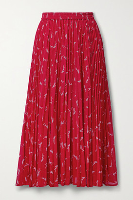 MICHAEL Michael Kors Pleated Printed Crepe Midi Skirt - Red