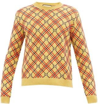 Gucci GG And Check-embroidered Wool Sweater - Yellow Multi