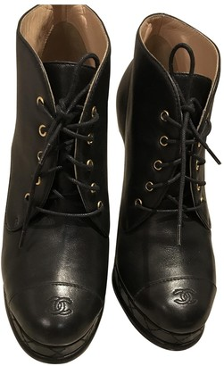 Chanel Black Leather Lace ups